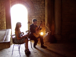 musicians in the Baptiserie Venasque, 2 Sept 2006